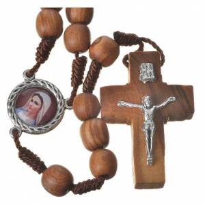 Rosary with grains in Medjugorje olive wood, Holy Spirit medal s1