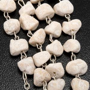 Rosaries and rosary holders: Rosary with grains in white stone with Our Lady of Medjugorje