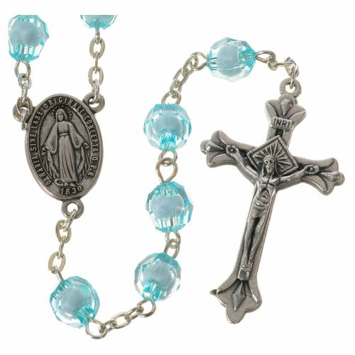 Rosary with Miraculous Medal and aquamarine grains 8mm s1