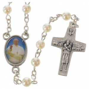 Imitation pearl rosaries: Rosary with Pope Francis, peal-like 5mm beads