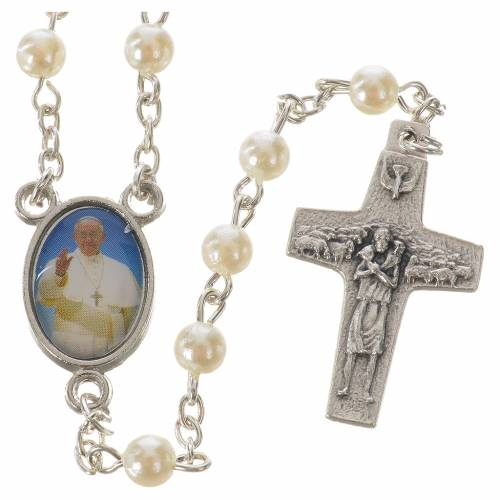 Rosary with Pope Francis, peal-like 5mm beads s1