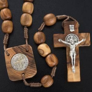 Medjugorje Rosenkränze und Etuis: Rosenkranz Olivenholz Medaille Heiliger Benediktus