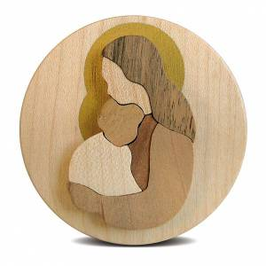 Round wooden favour with Virgin Mary with Baby Jesus s2
