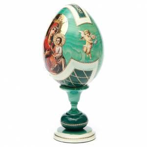 Handgemalte Russische Eier: Russische Ei-Ikone Gottesmutter Hodegetria Gorgoepikos 20cm grün