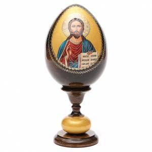 Handgemalte Russische Eier: Russische Ei-Ikone Jesus Pantokrator Decoupage 20cm