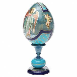Handgemalte Russische Eier: Russische Ei-Ikone Schutzengel 20cm Decoupage hellblau