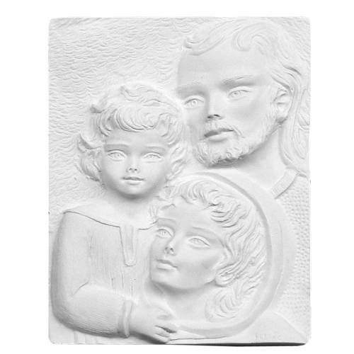 Sacra Famiglia rilievo 23 cm marmo sintetico rilievo s1