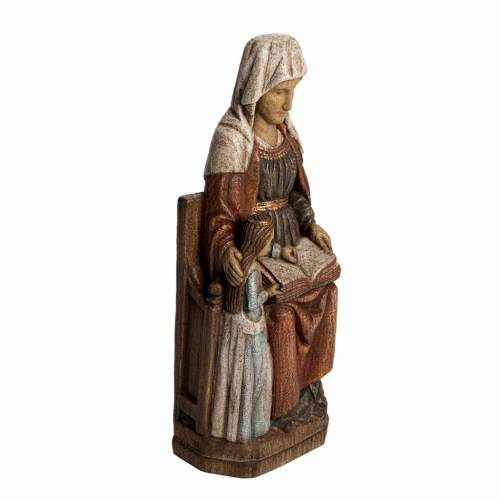 Saint Anne, young Virgin Mary statue in painted Bethléem wood, s2