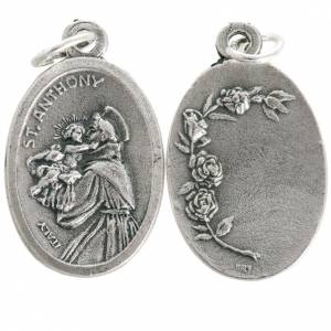 Saint Anthony devotional oval medal in metal 20mm s1