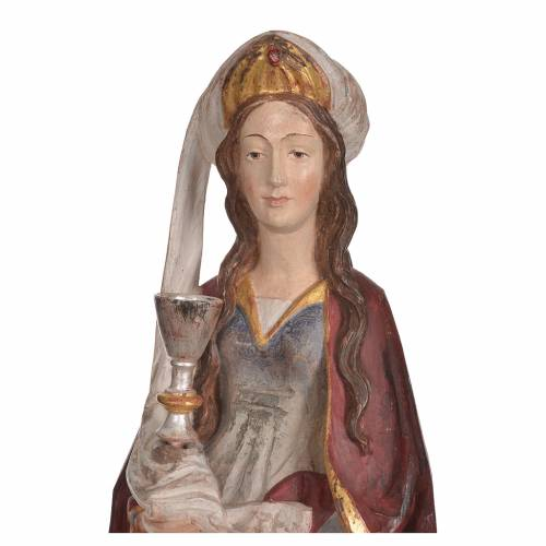 Saint Barbara with chalice in Valgardena wood, 56cm antique gold s5