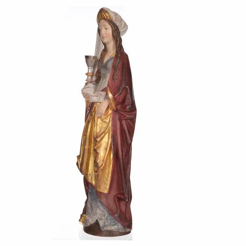 Saint Barbara with chalice in Valgardena wood, 56cm antique gold s2