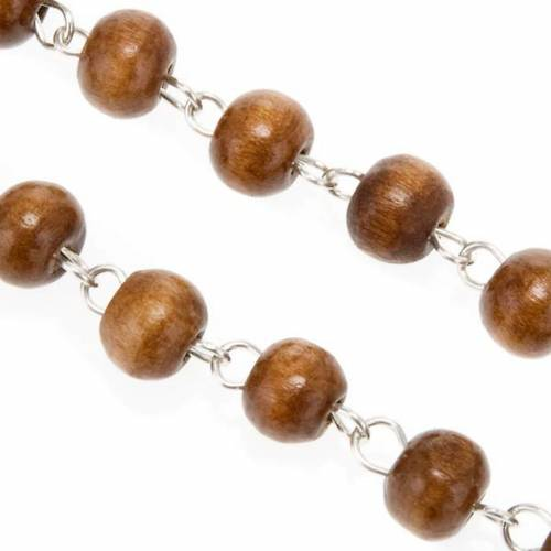 St. Benedict rosary, brown coconut-effect round beads s3