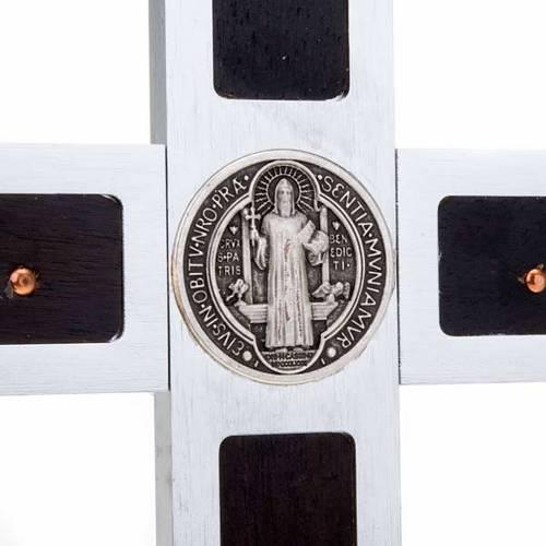 Saint Benedict cross with wood inlays 25x12.5 s4