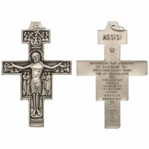 Saint Damien cross pendant, silver metal 5.8cm s1