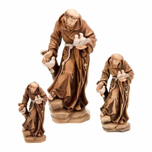 Saint François d'Assise avec colombes, statue bois s1