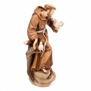 Saint François d'Assise avec colombes, statue bois s5