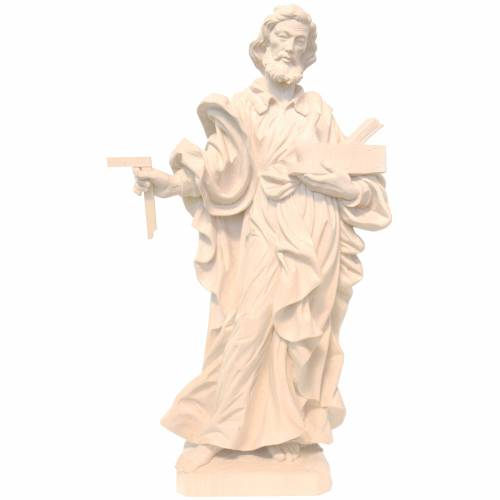 Saint Joseph the worker statue in natural wax Valgardena wood s1