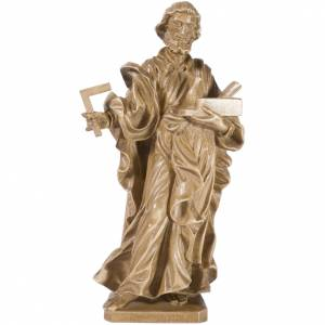 Natural wood statues and figures: Saint Joseph the worker statue in patinated Valgardena wood