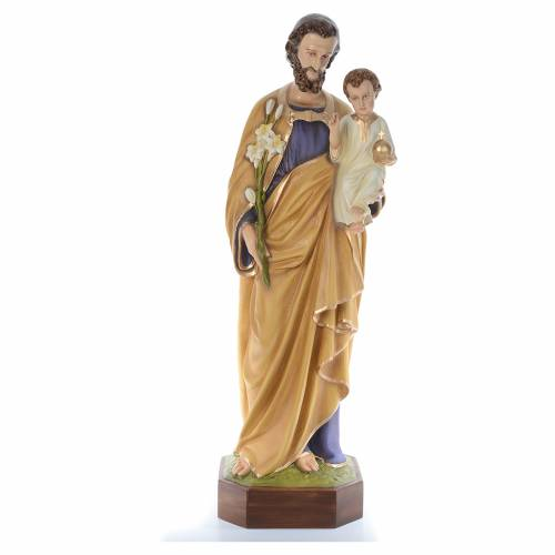 Saint Joseph travailleur fibre de verre peint 130cm s1