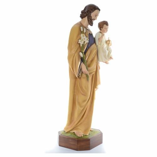 Saint Joseph with Baby Jesus, statue in painted fiberglass, 130c s4