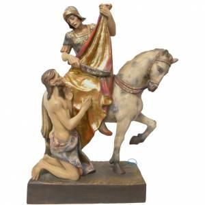 Saint Martin à cheval et pauvre bois peint Valgardena s1