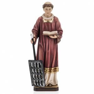 Statue in legno dipinto: San Lorenzo legno colorato 30 cm