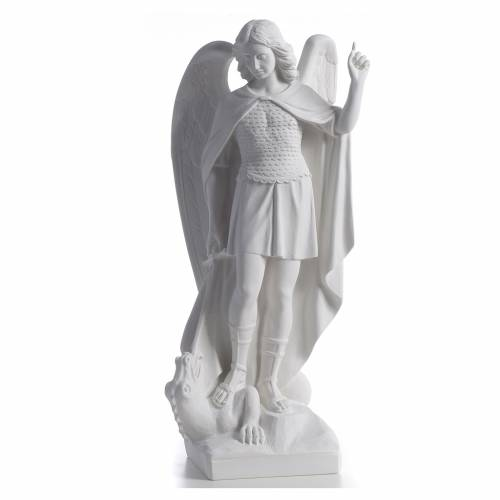 San Michele arcangelo 60 cm marmo bianco s1