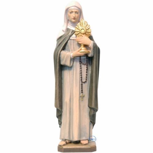 Santa Chiara con ostensorio 21 cm legno dipinto Valgardena 1