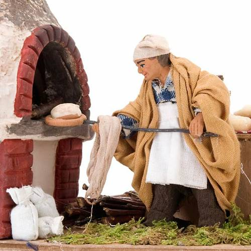 Santon animé boulanger crèche napolitaine 10 cm s2