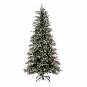 Sapins de Noël: Sapin de Noël 180 cm Slim enneigé baies pommes pin Dunhill