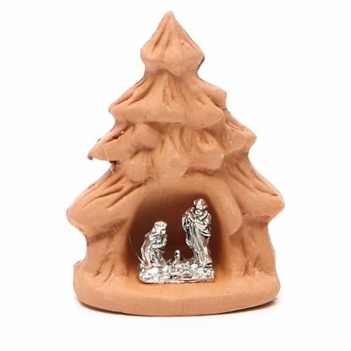 Sapin de Noël et Nativité terre cuite naturelle 7x5x4 cm s1