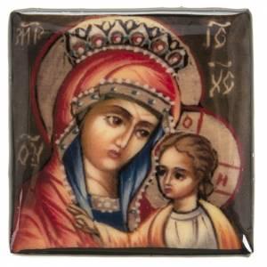 Scatola lacca Russia Madonna manto rosso Fedoskino s2