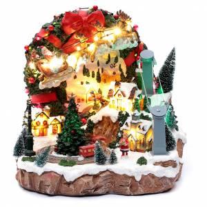 Villages de Noël miniatures: Scène Noël avec lumières et train en mouvement 30x30x25 cm