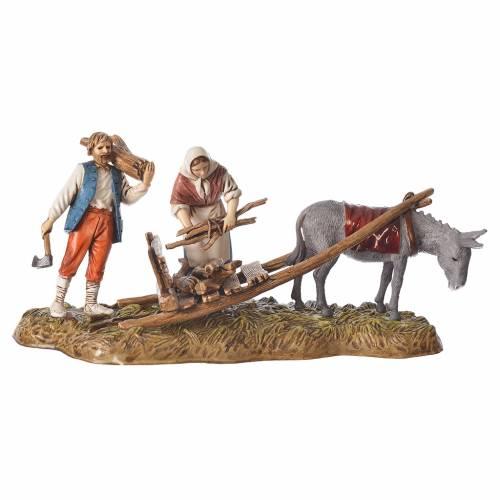 Scene of wood collection, nativity figurines, 10cm Moranduzzo s1