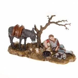 Krippenfiguren: Schlafende Hirte mit Esel 10cm Krippe Moranduzzo