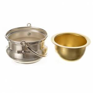 Secchiello per acqua santa ottone argentato s3