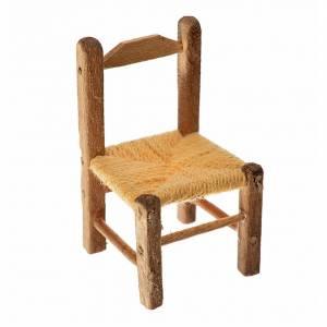 Accessori presepe per casa: Sedia presepe impagliata in legno 4x2,5x2,5 cm