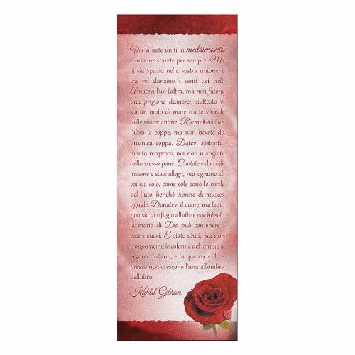 Segnalibro carta perlata Rosa Rossa Frase K. Gibran 15x5 cm 1