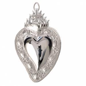 Wota błagalne i dziękczynne: Serce wotywne krzyż i płomień 13.5x8 cm