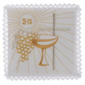 Servizio da altare lino calice uva dorati croce bianca s1