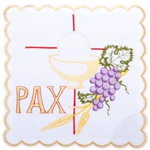 Servizi da messa e conopei: Servizio da mensa 4pz. simboli PAX uva spighe