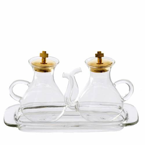 Set ampolline con beccuccio e vassoio in vetro s1