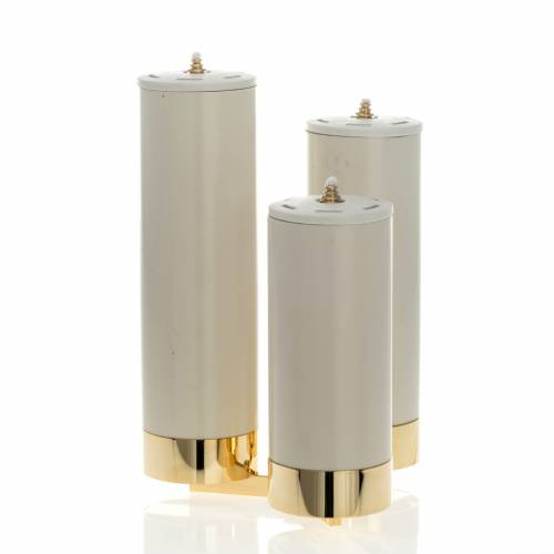 Candeliere 3 fiamme con finte candele s2