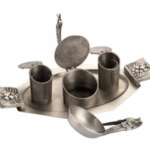 Set for Holy oils in silver-plated bronze s4