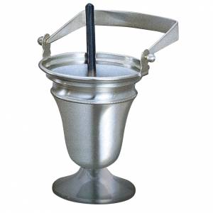 Set, Molina Holy Water pot and sprinkler in silver brass s1