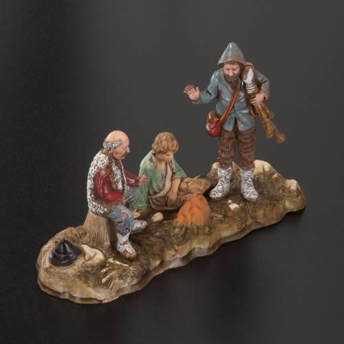 Setting for Moranduzzo nativities, 3 shepherds with fire 10cm s2