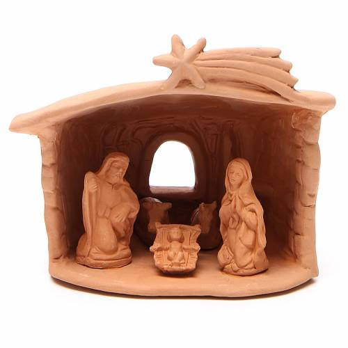 Shed with Nativity in terracotta 15x13x11cm s1