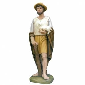 Shepherd with sheep, statue in painted fiberglass, 100cm s1