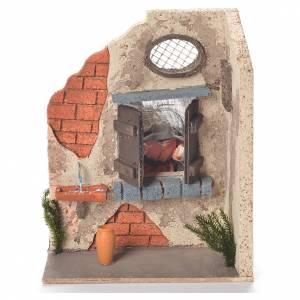 Signora alla finestra 10 cm movimento presepe Napoli s1