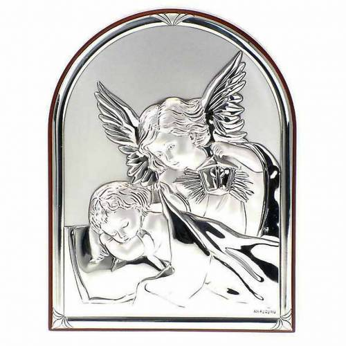 Silver Bas Relief Guardian Angel, oval 1